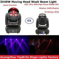 מכירות 4 1xlot אורות Beam לשטוף זום LED הזזת ראש 4X30 W ערבוב צבע RGBW 4IN1 מתח גבוה אורות במה תצוגת OLED IP20