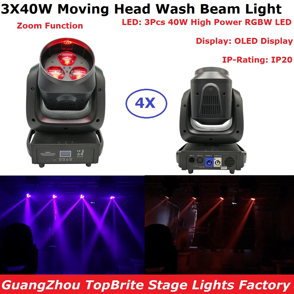 Sales 4XLot LED Moving Head Lights Beam Wash Zoom 4X30W High Power RGBW 4IN1 Color Mixing Stage Lights OLED Display IP20