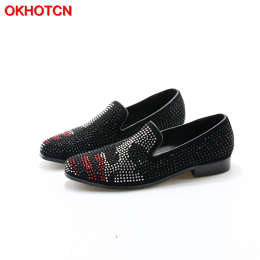 OKHOTCN Black Red White Rhinestones Glitter Men Loafers Smoking Slipper Casual Shoes Genuine Leather Wedding Dress Men's Flats okhotcn fashion gingham men loafers genuine leather casual shoes party wedding dress men s flats daily comfortable leisure shoes