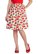 SexeMara women vintage white strawberry print high waist a-line swing cotton f5d40769828e