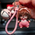 Latest Cartoon Monchichi Key Chain Sleutelhanger Bell Keychain Keyring Kiki Leather Strap Women Bag Charm Porte Clef M192