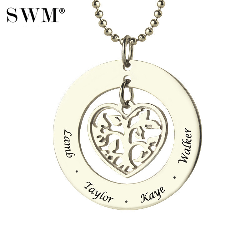 Women's Sterling Silver 925 Necklace Custom Family Tree of Life Necklaces Love Heart Pendant Engraved Kids Name Chain for Mom цены онлайн