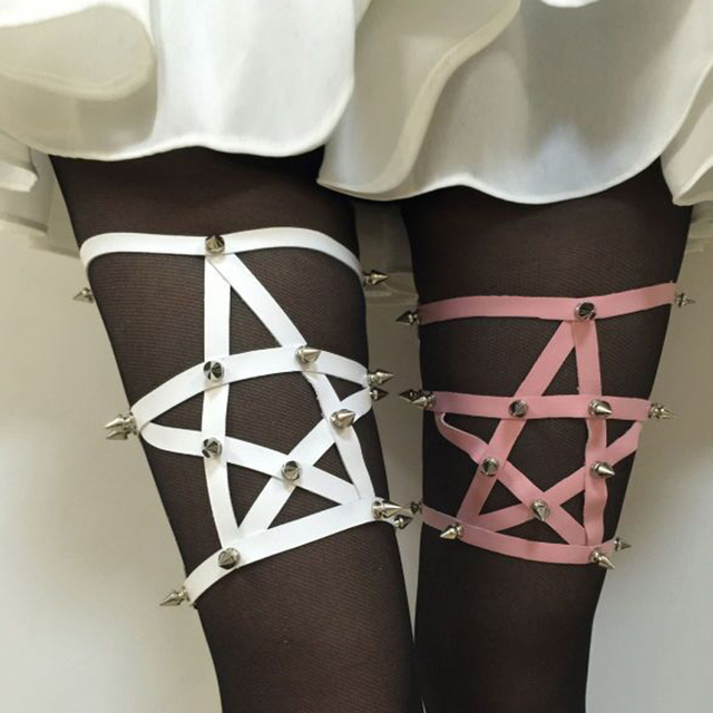 Estrella Del Remache Ligas de Pierna 2015 Nueva Moda Harajuku PUNKY remache de una sola pieza de cuero Ligas pierna arnés SHHIPPING LIBRE