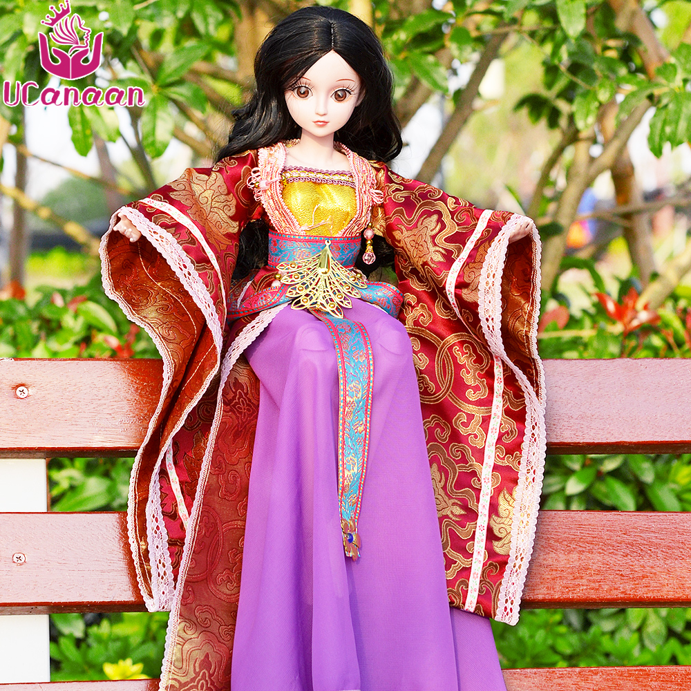 UCanaan 1/3 BJD Doll Reborn Girls Dolls 19 Jointed Body  Chinese Style Maxi Long Dress Wig Makeup Dressup DIY SD Kids Toys handmade ancient chinese dolls 1 6 bjd jointed doll empress zhao feiyan dolls girl toys birthday gifts