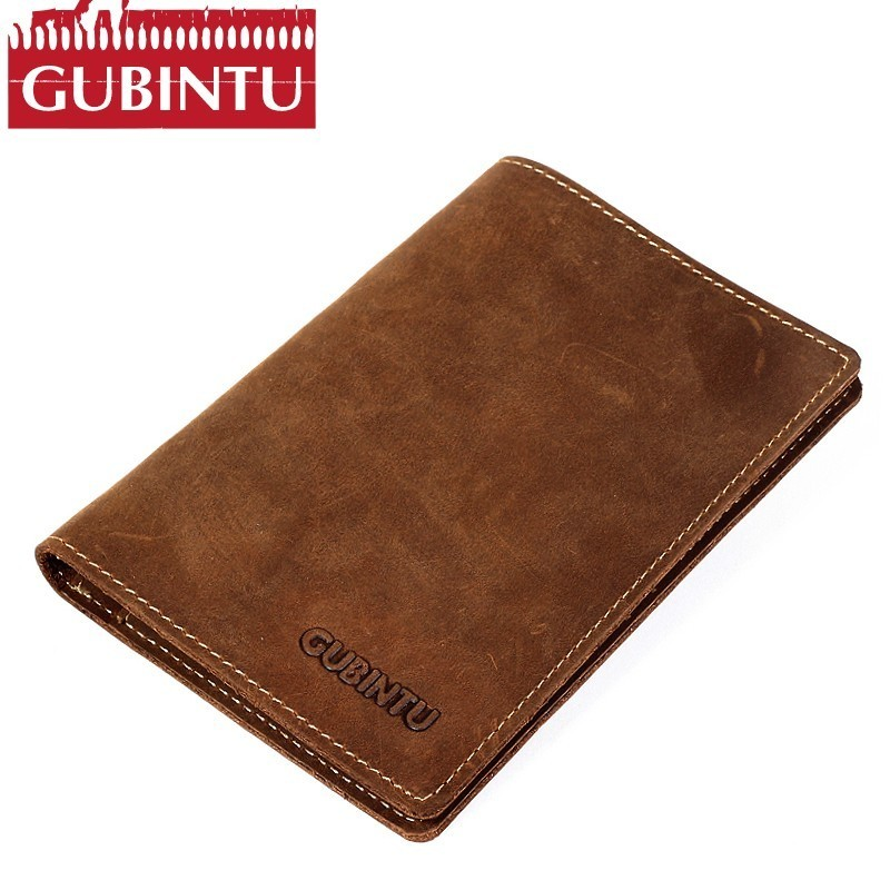 New Vintage Natural Crazy Horse Leather Russian Passport Cover Card Holder Travel Credit Wallet Genuine Leather Passport Case