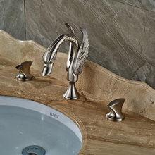 Luxury Swan Washbasin Faucet Widespread Deck Mounted Bathroom Sink Mixer Taps Dual Handle Brushed Nickel Finished