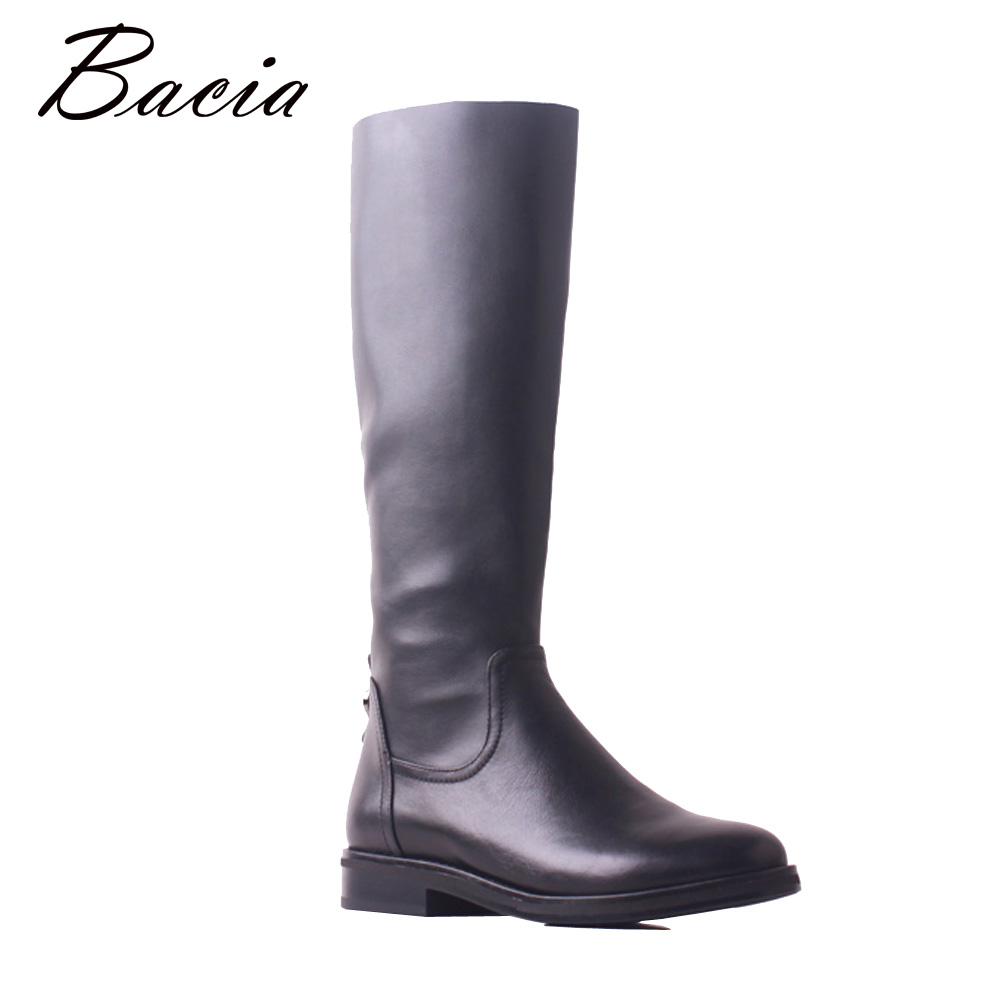 Bacia Genuine Leather Cow Leather Fashion Black Women Autumn Winter Snow Knee High Boots Short Plush Low Heels Long Shoes MB036 bacia women high heels ankle boots genuine leather shoes warm short plush inside autumn fashion pure black botas mc023