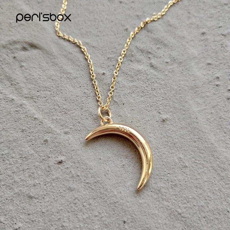 Peri'sBox Chic Gold Farbe Kleinen Mond Anhänger Halsketten 925 Sterling Splitter Crescent Halskette Erklärung Schmuck Für Frauen