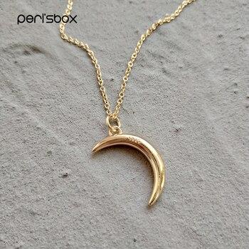 a3b117371382 Perisbox Chic oro Color Luna pequeña colgante collares 925 plata esterlina media  luna gargantilla collar declaración joyería para mujer