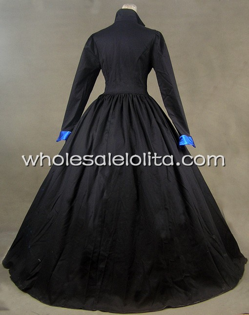 Robe victorienne Tudor gothique en Satin de coton robe PUNK - 3