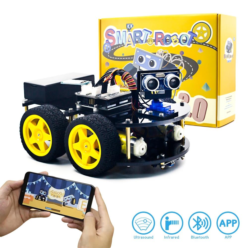 KUONGSHUN Smart Robot Car Kit Include UNO R3 Ultrasonic Sensor Bluetooth Module for Arduino Robot Kit