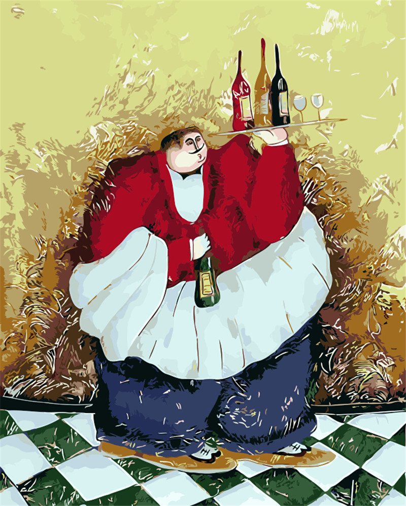 Fat man with red wine waiter the Paintings Numbers hand Paint Painitng Coloring By Number drawing pictures Home Wall Decoration