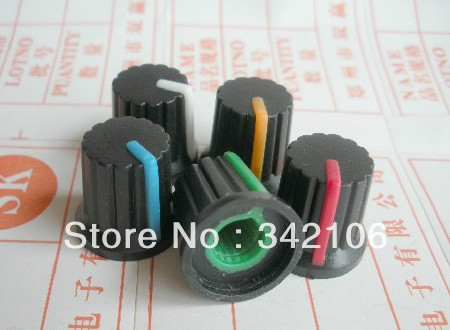 Free Shipping!!  100pcs Potentiometer Knob Switch Cap (black Button Colors) Diameter 6mm Diameter 15MM * 15MM High