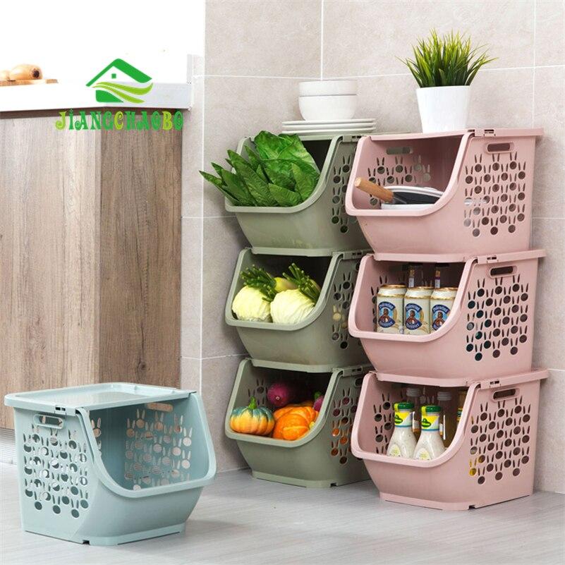 JiangChaoBo 1 Pedaço Cesta De Armazenamento Empilhável Cestas de Armazenamento De Brinquedo De Plástico de Cozinha Lanches Cesta Vegetal Prateleiras Do Banheiro