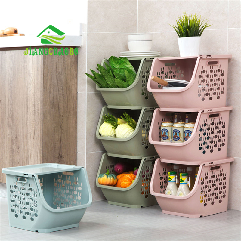JiangChaoBo 1 Piece Stackable Storage Basket Plastic Toy Storage Baskets Kitchen Snacks Vegetable Basket Bathroom Shelves