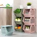 JiangChaoBo 1 Stück Stapelbar Lagerung Korb Kunststoff Spielzeug Lagerung Körbe Küche Snacks Gemüse Korb Bad Regale-in Aufbewahrungskörbe aus Heim und Garten bei