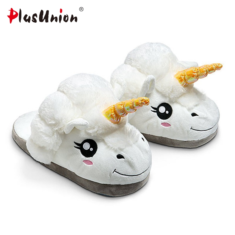 winter indoor animal prints flat unicorn slippers furry unisex fluffy fur cartoon fuzzy house home women mules anime cosplay plush winter emoji slippers indoor animal furry house home men slipper with fur anime women cosplay unisex cartoon shoes adult