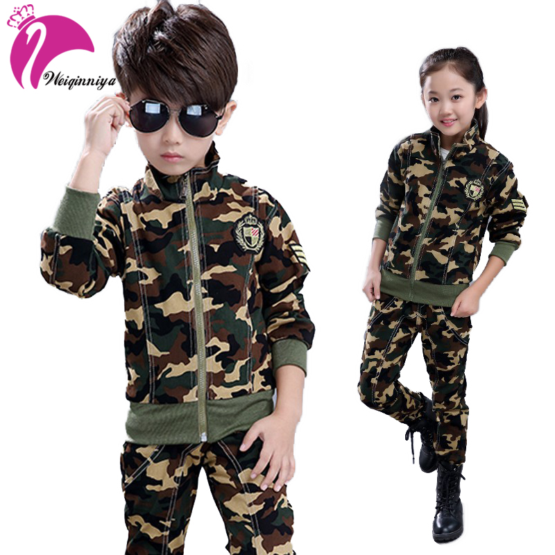 Sports Suit For Unisex Fashion Cool Camouflage Girls Sport Suits Military training Big size Children Tracksuits For Boys