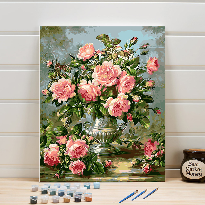 Pictures Flowers Paint By Numbers DIY Acrylics Coloring Home Arts Hand Painted Canvas Oil Paintings For Living Room Bedroom Wall