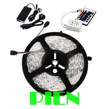 ФОТО 5050 RGB LED Strip doide tape fita de lampada levou tiras Waterproof leds 5M 12V + controle remoto +Power Adapter Free shipping