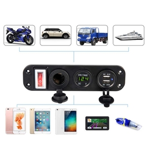 Image 4 - 자동차 충전기 듀얼 USB 어댑터 12V 담배 라이터 소켓 LED 전압계 스위치 2019 새로운