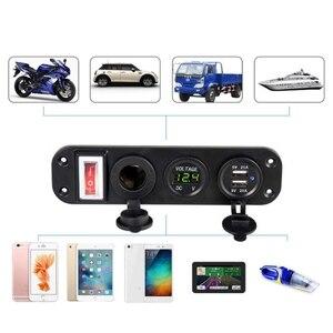Image 4 - Ładowarka samochodowa podwójny Adapter USB 12V gniazdo do zapalniczki woltomierzem LED przełącznik 2019 nowy