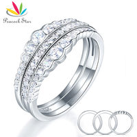 Peacock Star Solid 925 Sterling Silver Wedding Band Ring Set 3 Pieces Anniversary Art Deco Vintage