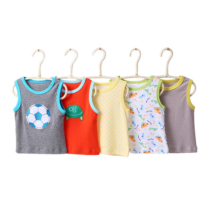 [5Pcs/lot Random Color]Baby Girl Tops Cartoon Print Infant Girls Vest T Shirt Cotton Sleeveless Newborn Boy T-shirt Summer Vest