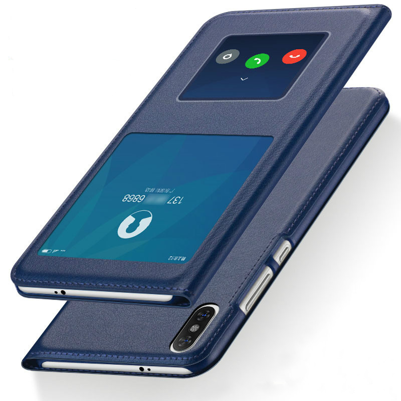 Ultra Thin Flip Cover Case Dual Window View Feature Leather Phone Case for Xiaomi Redmi 6, Redmi 6a, Redmi 6 Pro