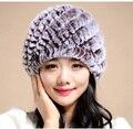 Вязание кролик меховая шапка зимняя шапка шапки для женщин новая мода 2015 Натурального меха кролика hat Полосой Меховые Шапки
