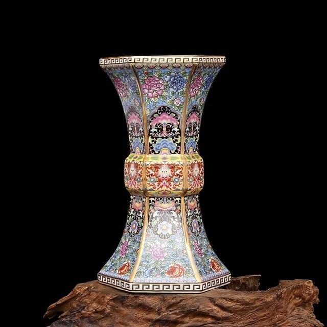 Эмалированная Золотая Шестигранная ваза династии цианлонг, антикварная фарфоровая коллекция античного фарфора