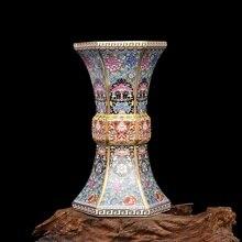 Enamel Qianlong Year of the Qing Dynasty Golden Hexagonal Vase Antique Porcelain Collection of Antique Porcelain