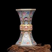 Smalto Anno Qianlong della Dinastia Qing Golden Esagonale Vaso di Porcellana Depoca Collezione di Porcellane Antiche