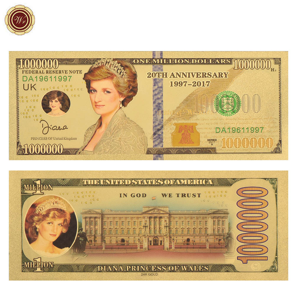 WR Diana Princess Gold Plated Banknote 20th Anniversary 1 Million Golden Banknote Diana Challenge Banknote