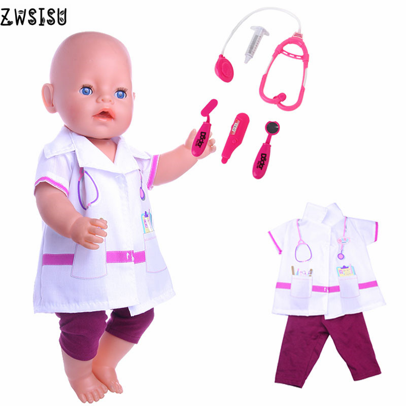Mini children's doll clothes doctor suit + stethoscope suitable for 43 cm baby doll accessories Christmas gift n1171 + n952