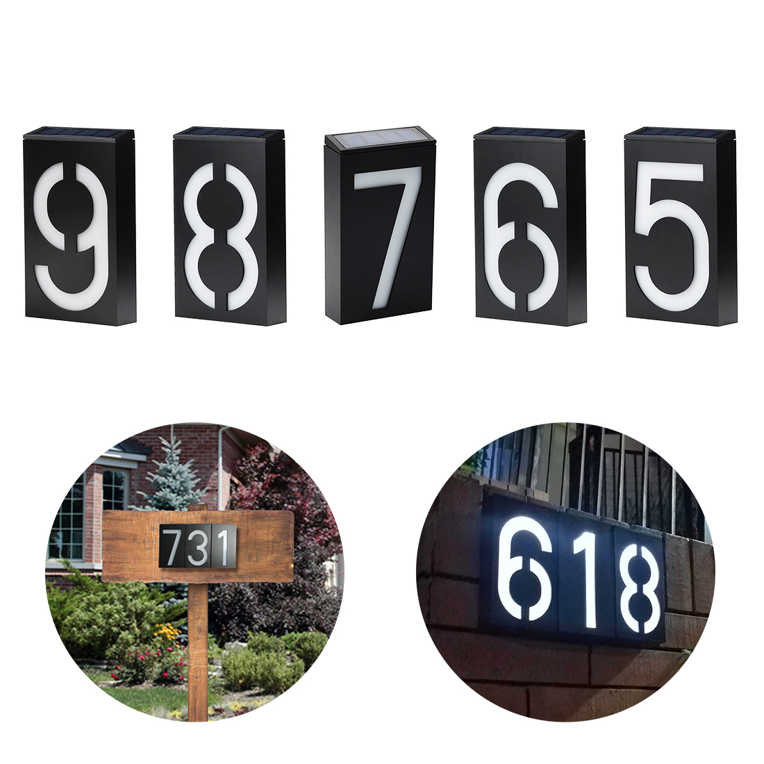 New Solar Power Number LED Light Sign House Hotel Door Address Plaque Mailbox Digit Plate Solar Wall Door Lamp