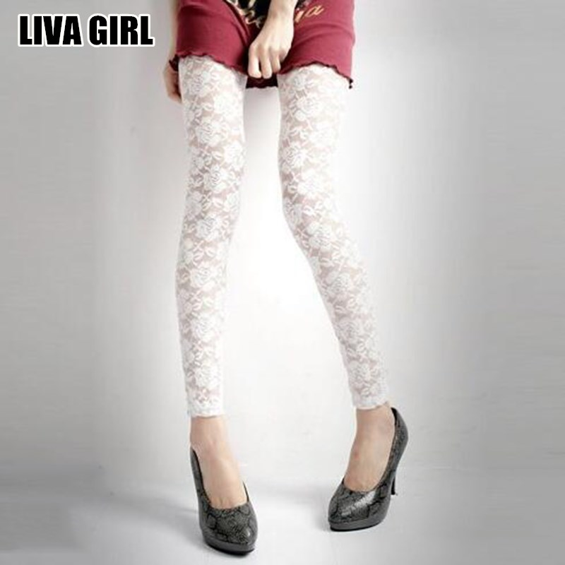Liva Girl Sexy Fresh Cool Summer Women Rose Lace Sexy Leggings Hollow Slim Elastic Pants Black White Casual Leggings Female