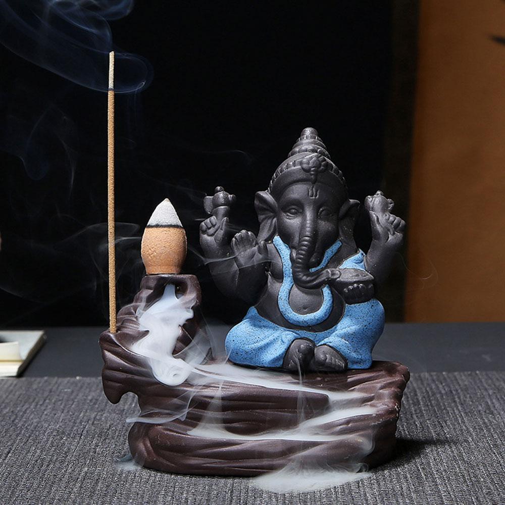 Фиолетовый; песок слон помощь для сна Ароматизированная горелка для благовоний с обратным потоком кадильница, ароматическая терапия диффузор благовония курильница ретро - Цвет: blue