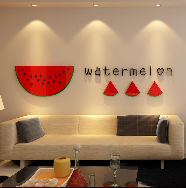 Creative watermelon acrylic 3d wall stickers bedroom background wall ...