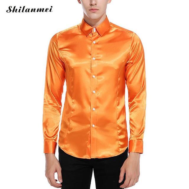 4b8a8a084f Primavera Camisa Social Masculina Laranja Cor Birght Ajuste Homens Magros  camisas Azul Branco Rosa Camisa Outono