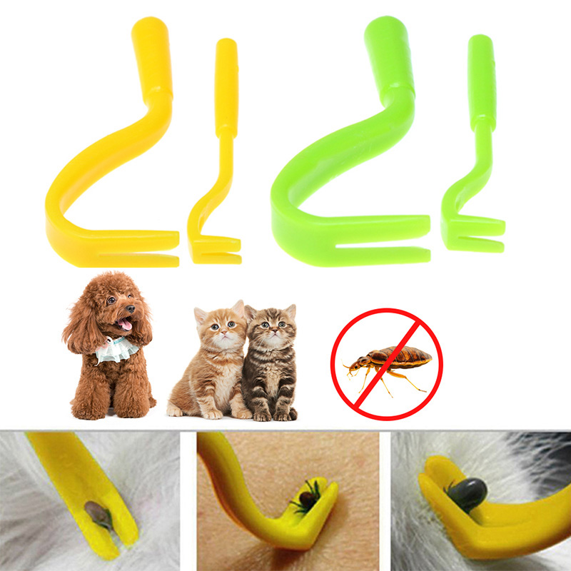 2PCS Pet Flea Remover Tool Scratching Hook Remover Pet Cat Dog Grooming Supplies Lice Tick Twister Remover Clips Pet Comb