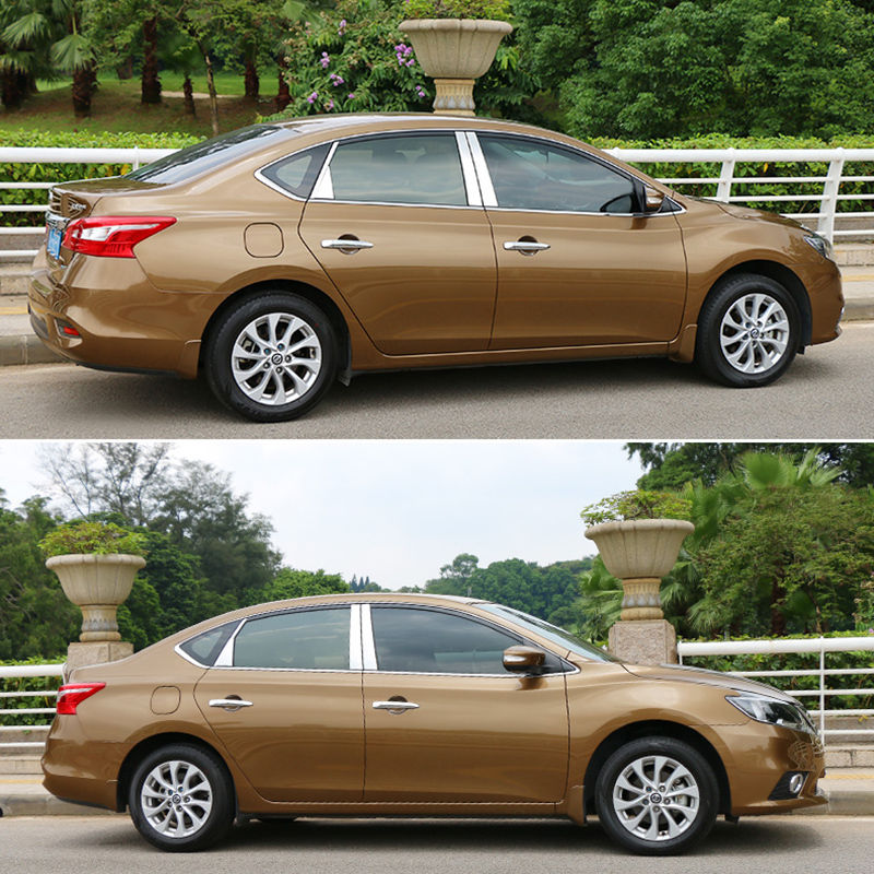 Fit For 2013 2014 2015 2016 2017 Nissan Sentra Car Window Pillar Post Cover Trim Accent Chrome Styling Sticker Accessories