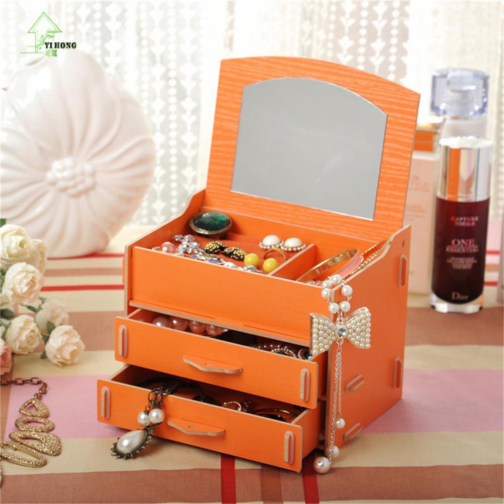 YIHONG Diy Wooden Cosmetic Storage Box Multi-function Office Desktop Storage Boxes Makeup Jewelry Storage Organizer Shelf Racks