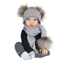Winter Pompoms Hat Scarf Set Baby Double Faux Fur Ball Hat Scarves Kids Knitted Thick Soft