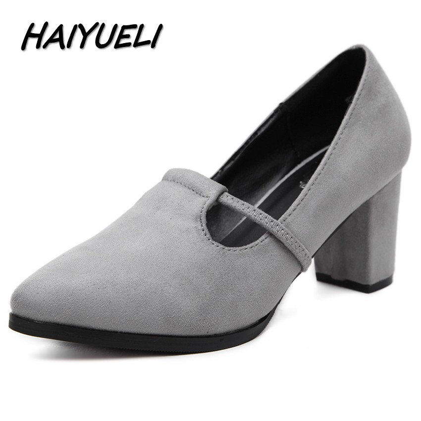 HAIYUELI sexy New women pumps pointed toe high heels shoes woman party wedding thick heels flock leather shoes size 34-40 meotina high heels shoes women pumps party shoes fashion thick high heels pointed toe flock ladies shoes gray plus size 10 40 43