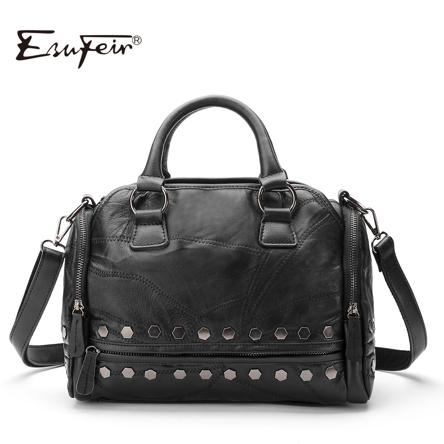 2018 ESUFEIR Brand Fashion Genuine Leather Women Handbag Patchwork Natural Sheepskin Rivet Shoulder Bag Women Messenger Bag фен bbk bhd0800 компакт темно синий