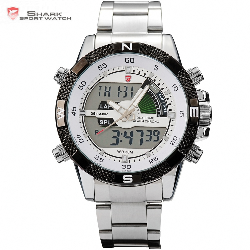 Steel Porbeagle SHARK Sport Watch Silver White Mens Luxury Brand Military LCD Calendar Alarm Digital Quartz Wrist Watches /SH046 daybird 3785 unisex quartz wrist watch w hollow calendar black red white silver 1 x lr626