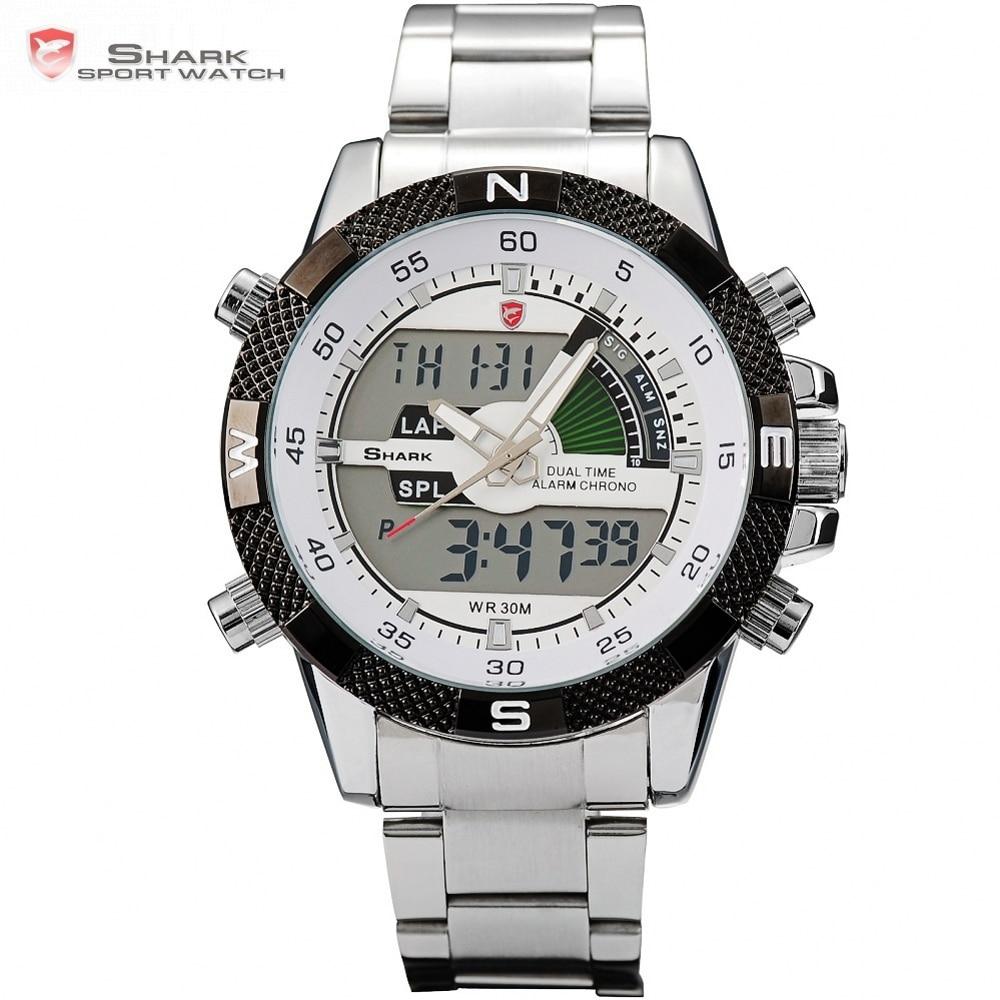 Steel Porbeagle SHARK Sport Watch Silver White Mens Luxury Brand Military LCD Calendar Alarm Digital Quartz