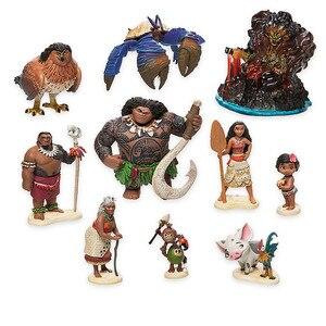 Image 1 - Disney Movie Vaiana Moana 10pcs/set Cartoon Princess Maui Chief Tui Tala Heihei Pua Action Figure Decoration Toys For Childrens