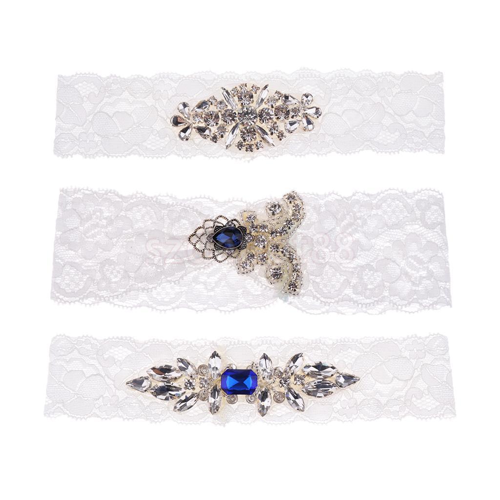Elegant Crystal Diamante Wedding Bride Lace Garter Hen Stag Night Bachelorette Party Fancy Dress Gift